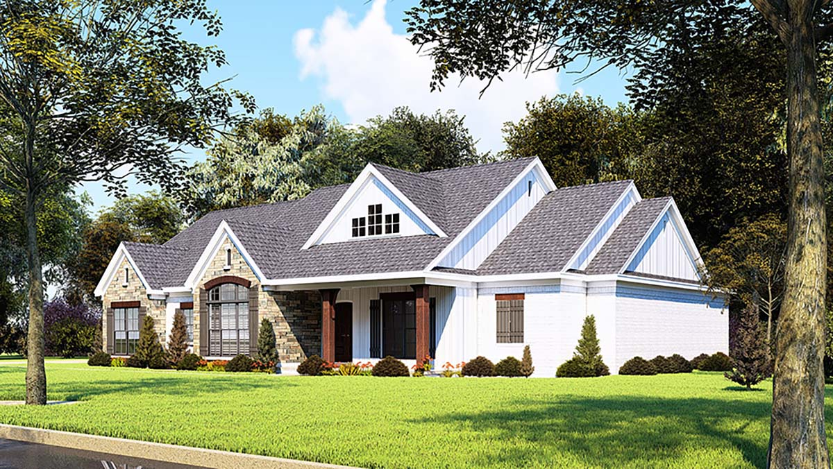 Country, Farmhouse, One-Story, Ranch, Traditional House Plan 82558 with 3 Beds, 3 Baths, 2 Car Garage Picture 1