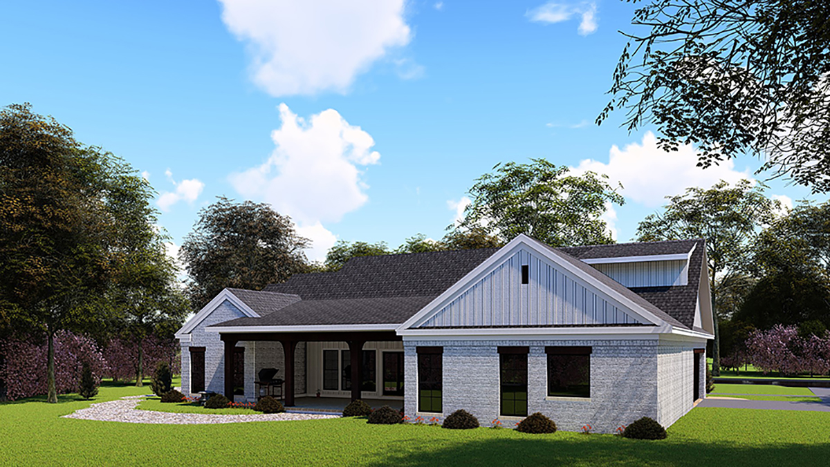 Country, Farmhouse, One-Story, Ranch, Traditional House Plan 82558 with 3 Beds, 3 Baths, 2 Car Garage Rear Elevation