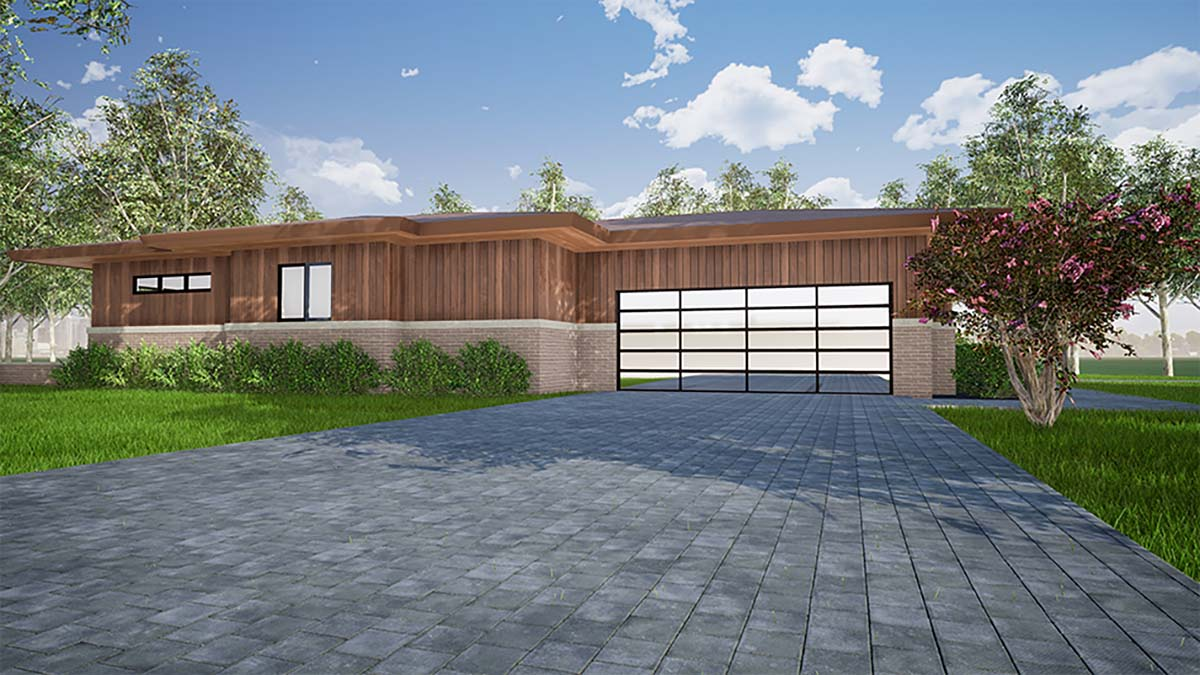 Contemporary, One-Story, Prairie House Plan 82559 with 3 Beds, 3 Baths, 2 Car Garage Picture 2