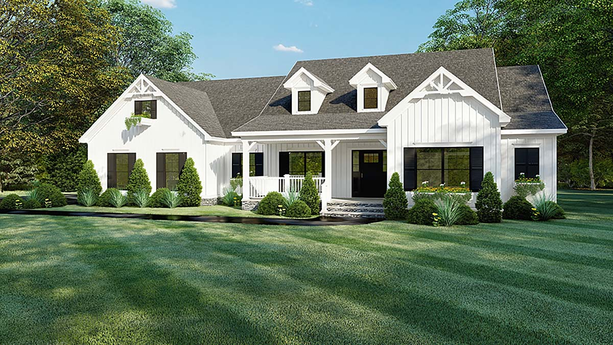 Bungalow, Craftsman, Modern Farmhouse, One-Story House Plan 82560 with 4 Beds , 4 Baths , 2 Car Garage Elevation