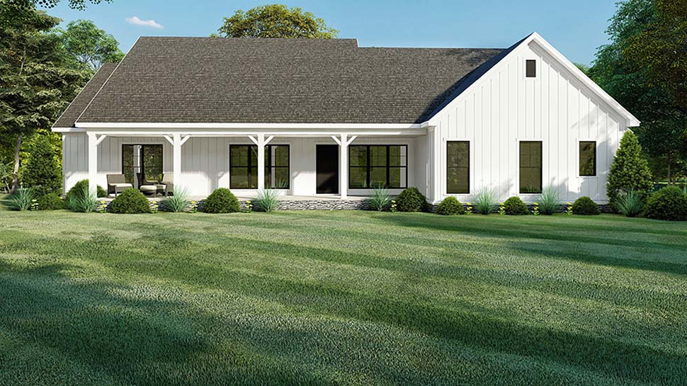 Bungalow, Craftsman, Modern Farmhouse, One-Story House Plan 82560 with 4 Beds , 4 Baths , 2 Car Garage Rear Elevation