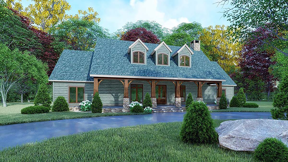 Country, Farmhouse House Plan 82564 with 3 Beds, 2 Baths Elevation