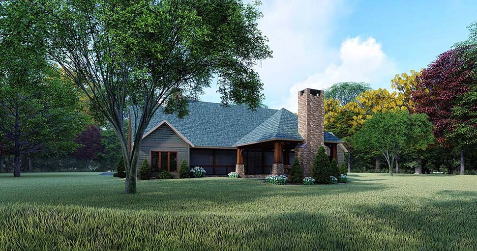 Country, Farmhouse House Plan 82564 with 3 Beds, 2 Baths Rear Elevation