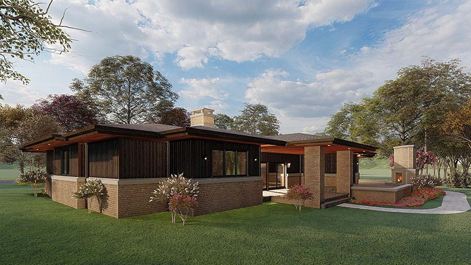 Contemporary, Prairie House Plan 82567 with 4 Beds, 4 Baths, 2 Car Garage Picture 1