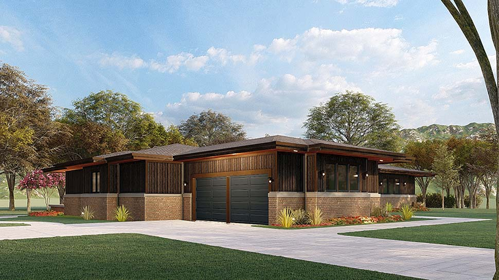 Contemporary, Prairie House Plan 82567 with 4 Beds, 4 Baths, 2 Car Garage Picture 2