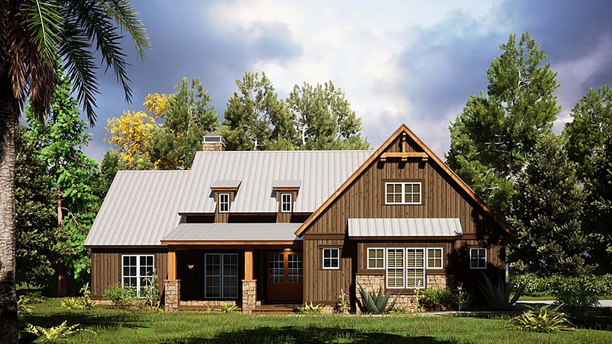 Bungalow, Craftsman, Farmhouse House Plan 82568 with 4 Beds, 2 Baths, 2 Car Garage Front Elevation
