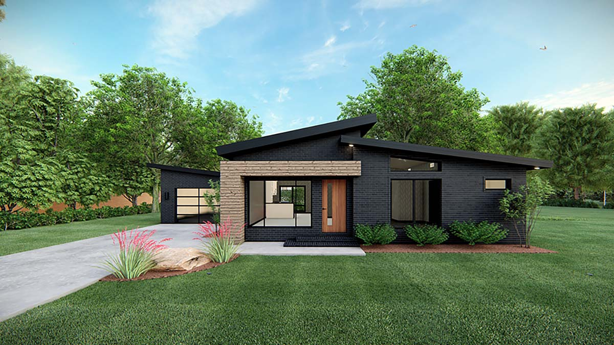 Modern House Plan 82569 with 3 Beds, 2 Baths, 1 Car Garage Elevation