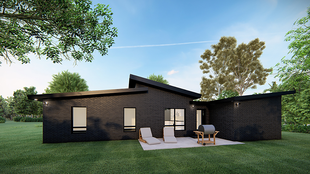 Modern House Plan 82569 with 3 Beds, 2 Baths, 1 Car Garage Rear Elevation