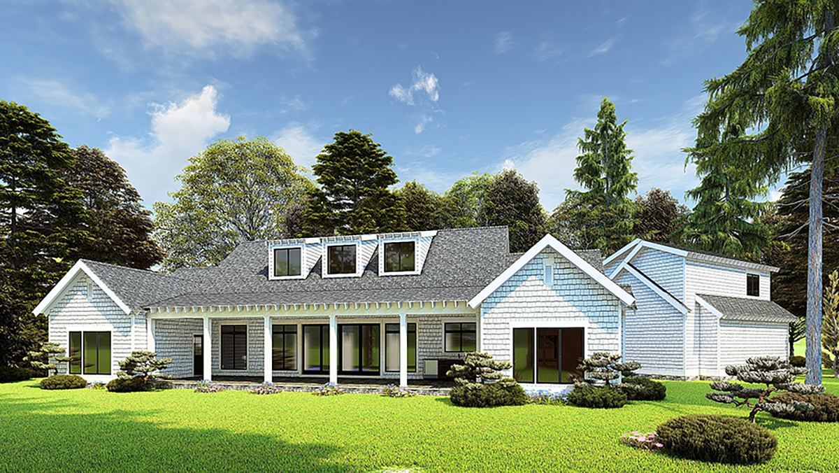 Bungalow, Craftsman, Farmhouse House Plan 82573 with 3 Beds, 4 Baths, 2 Car Garage Rear Elevation