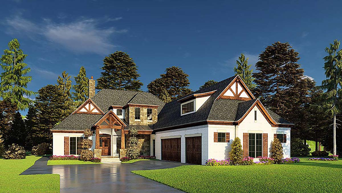 Bungalow, Craftsman, French Country House Plan 82574 with 4 Beds, 5 Baths, 3 Car Garage Elevation