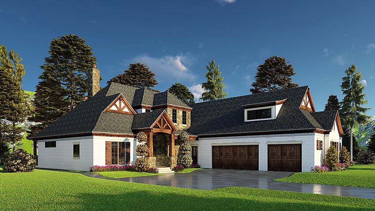 Bungalow, Craftsman, French Country House Plan 82574 with 4 Beds, 5 Baths, 3 Car Garage Picture 2