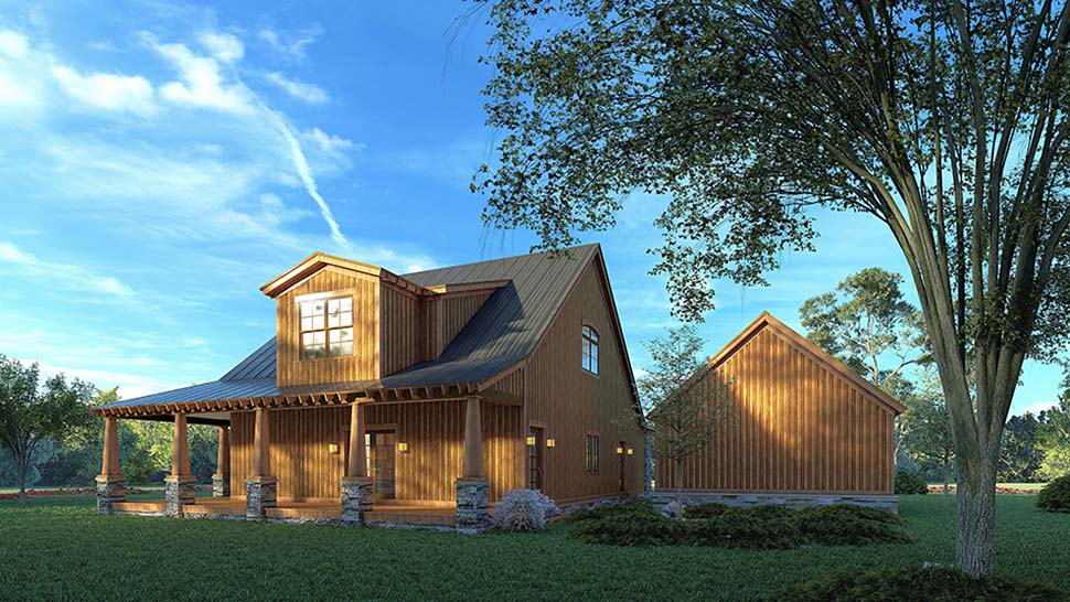 Country, Craftsman, Farmhouse House Plan 82581 with 3 Beds, 3 Baths, 2 Car Garage Rear Elevation