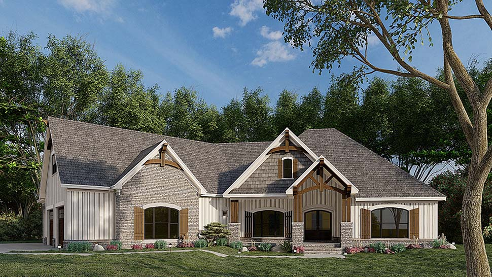 Bungalow, Craftsman, French Country House Plan 82583 with 3 Beds, 2 Baths, 3 Car Garage Picture 3
