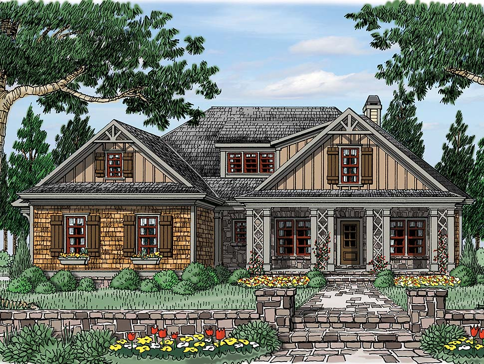 Bungalow, Craftsman, Tudor, Victorian House Plan 83001 with 4 Beds, 3 Baths, 2 Car Garage Picture 2