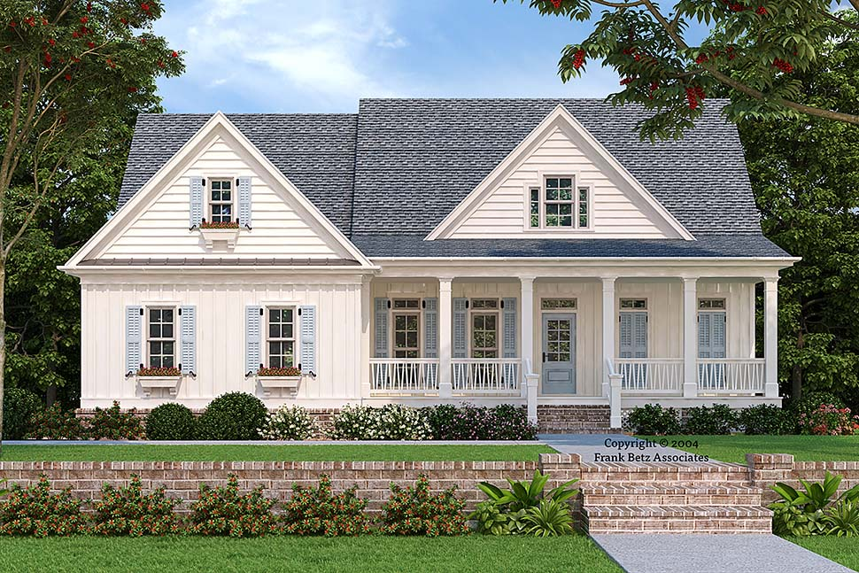 Cottage , Country , Craftsman , Ranch , Traditional , Tudor House Plan 83002 with 4 Beds, 3 Baths, 2 Car Garage Elevation