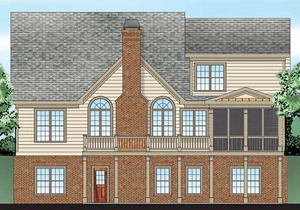 Cottage , Country , Craftsman , Ranch , Traditional , Tudor House Plan 83002 with 4 Beds, 3 Baths, 2 Car Garage Rear Elevation