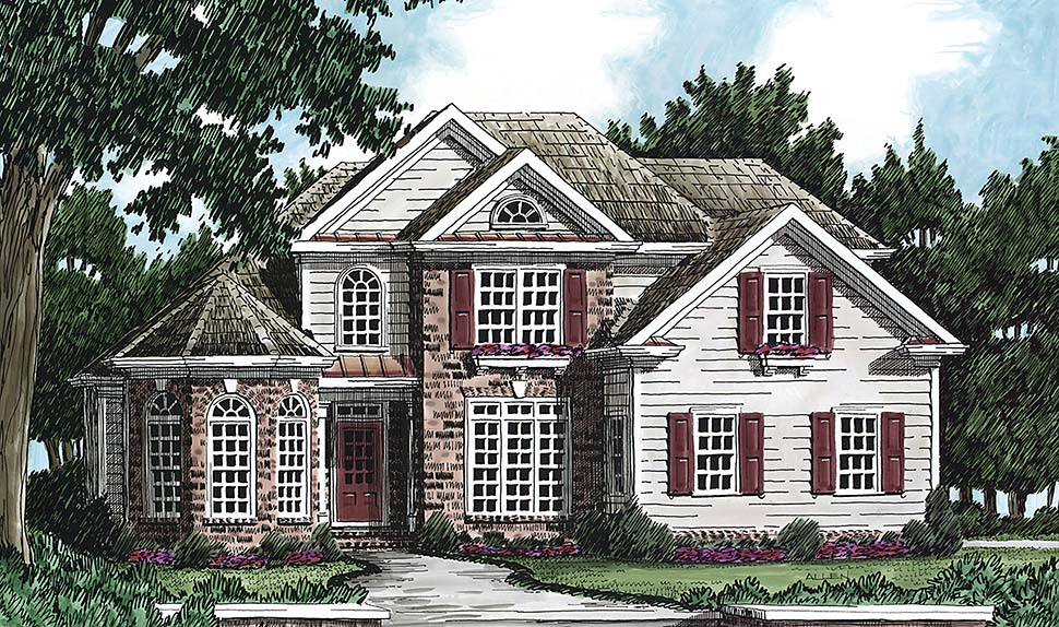 European, Traditional House Plan 83004 with 4 Beds, 3 Baths, 2 Car Garage Elevation