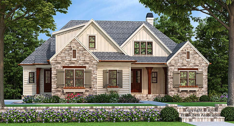 Bungalow , Craftsman , Traditional , Tudor House Plan 83006 with 3 Beds, 3 Baths, 2 Car Garage Elevation