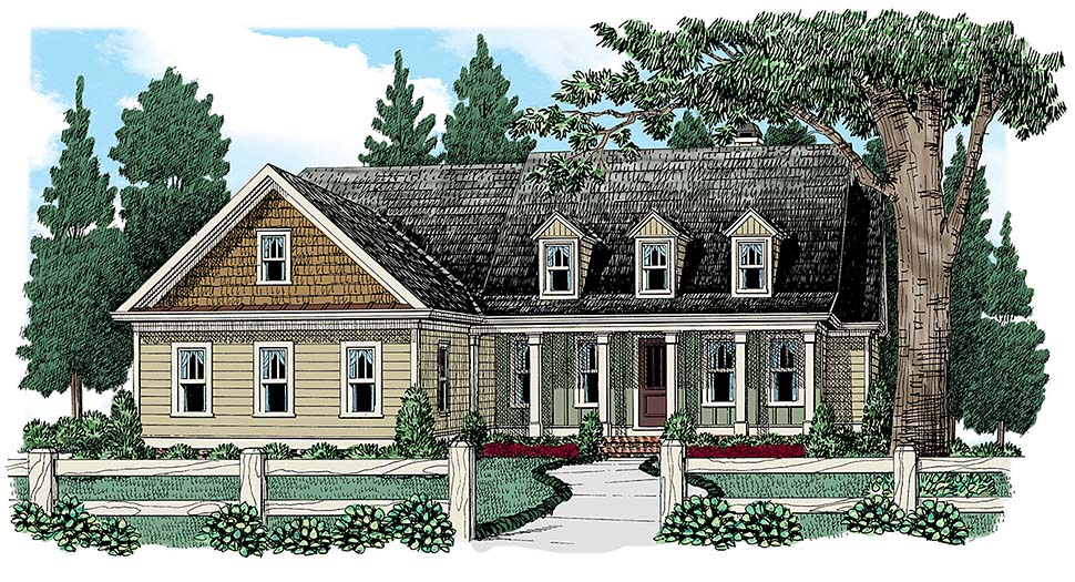 Cape Cod, Country, European, Traditional, Tudor House Plan 83007 with 3 Beds, 2 Baths Elevation