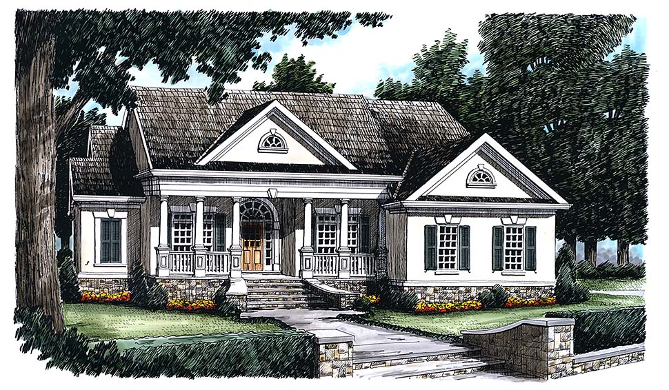 Colonial, Country, Southern, Traditional, Victorian House Plan 83008 with 3 Beds, 2 Baths, 2 Car Garage Elevation