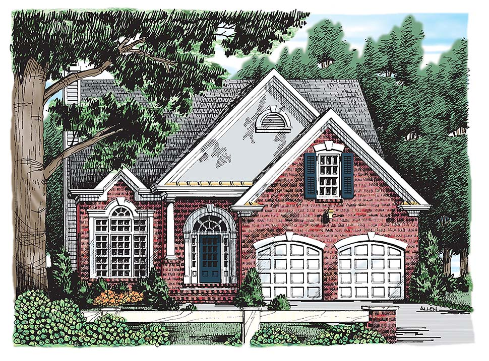 Colonial , Southern , Traditional , Elevation of Plan 83010