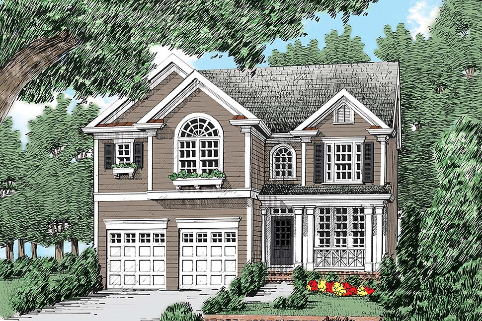 Coastal Colonial Country European Traditional Elevation of Plan 83011