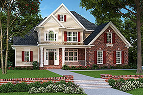 House Plan 83012 | European Traditional Style Plan with 2163 Sq Ft, 4 Bedrooms, 3 Bathrooms, 2 Car Garage Elevation