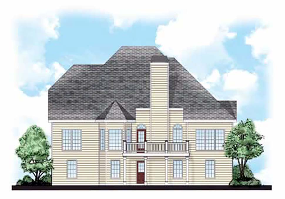 House Plan 83012 | European Traditional Style Plan with 2163 Sq Ft, 4 Bedrooms, 3 Bathrooms, 2 Car Garage Rear Elevation