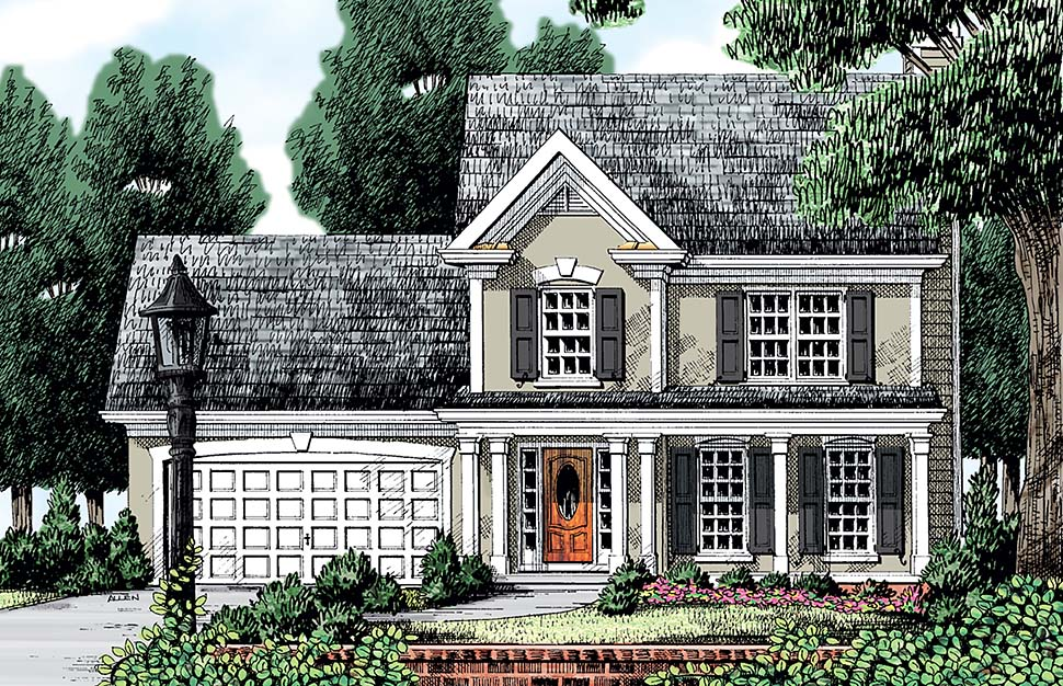 European, Traditional, Victorian House Plan 83013 with 3 Beds, 3 Baths, 2 Car Garage Elevation