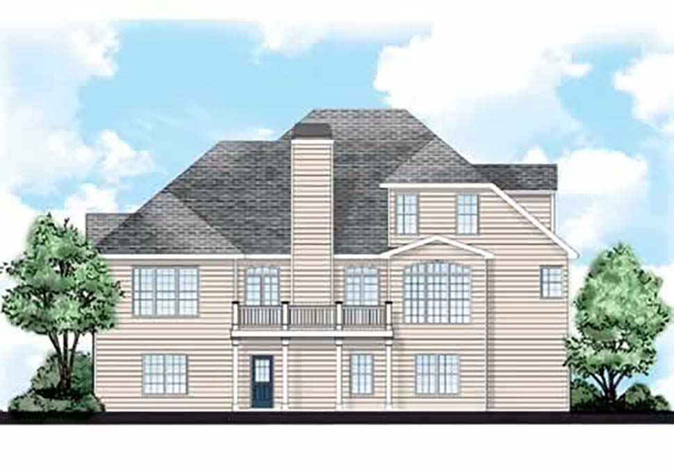 European , Traditional House Plan 83014 with 4 Beds, 3 Baths, 2 Car Garage Rear Elevation