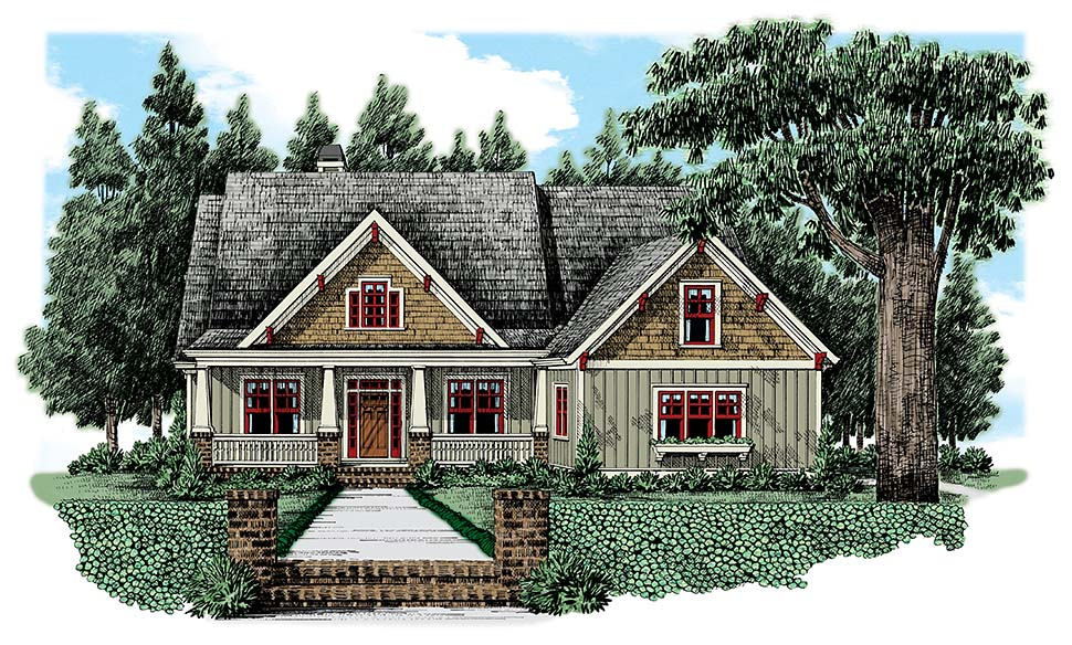 Bungalow, Craftsman, European House Plan 83015 with 4 Beds, 3 Baths, 2 Car Garage Picture 1