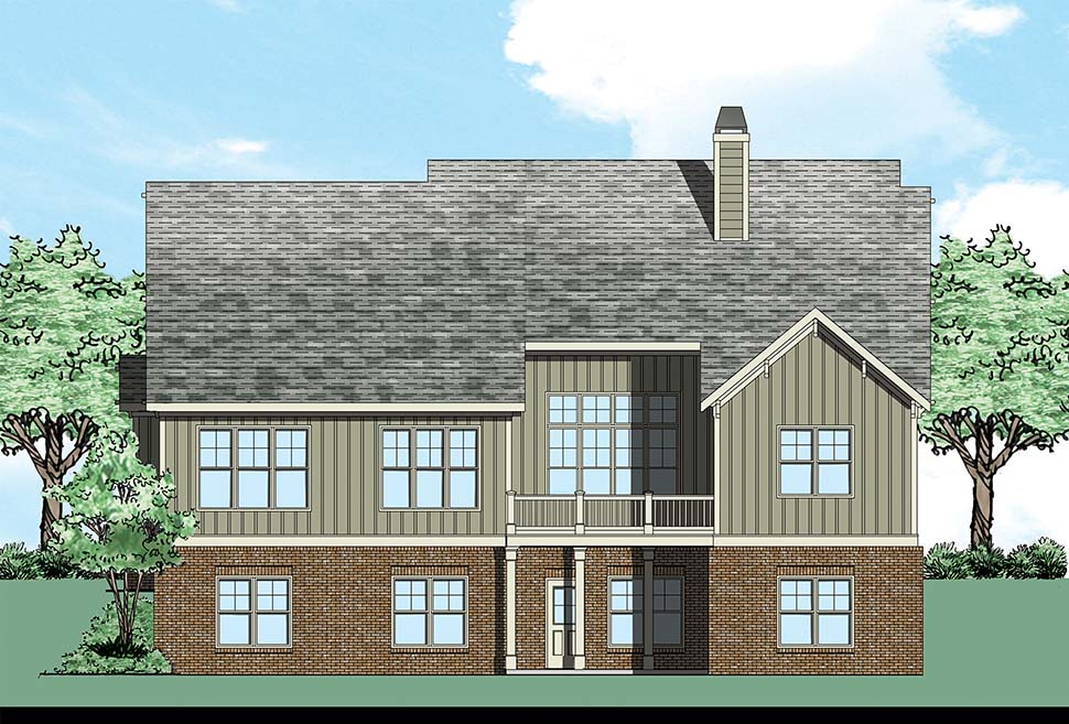Bungalow, Craftsman, European House Plan 83015 with 4 Beds, 3 Baths, 2 Car Garage Rear Elevation