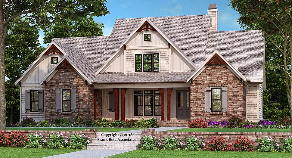 Country, Craftsman, Farmhouse House Plan 83017 with 4 Beds, 4 Baths, 2 Car Garage Elevation