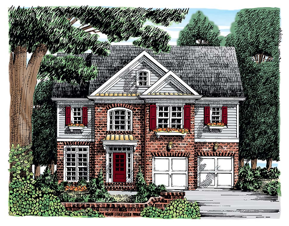 House Plan 83019 | European Traditional Style Plan with 2095 Sq Ft, 3 Bedrooms, 3 Bathrooms, 2 Car Garage Elevation