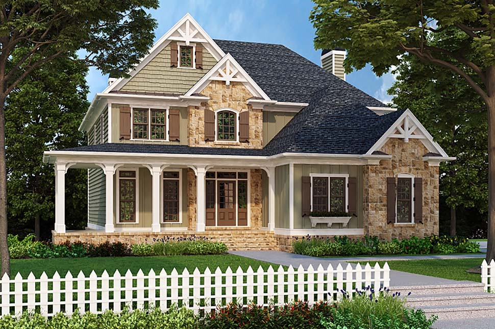 House Plan 83021 | Craftsman European Farmhouse Style Plan with 2443 Sq Ft, 4 Bedrooms, 3 Bathrooms, 2 Car Garage Elevation