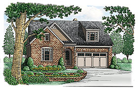 House Plan 83022 | Bungalow European Traditional Victorian Style Plan with 1977 Sq Ft, 3 Bedrooms, 2 Bathrooms, 2 Car Garage Elevation