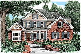 House Plan 83023 | European Traditional Style Plan with 2351 Sq Ft, 4 Bedrooms, 3 Bathrooms, 2 Car Garage Elevation