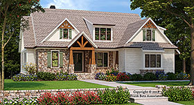 House Plan 83026 | Craftsman European Style Plan with 2601 Sq Ft, 4 Bedrooms, 4 Bathrooms, 2 Car Garage Elevation