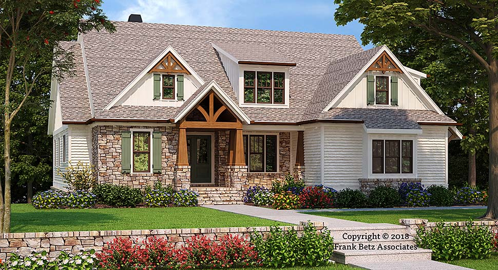 Craftsman, European House Plan 83026 with 4 Beds , 4 Baths , 2 Car Garage Elevation