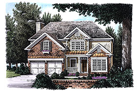 House Plan 83027 | Traditional Style Plan with 1952 Sq Ft, 3 Bedrooms, 3 Bathrooms, 2 Car Garage Elevation