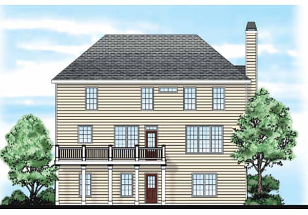 Traditional House Plan 83027 with 3 Beds, 3 Baths, 2 Car Garage Rear Elevation