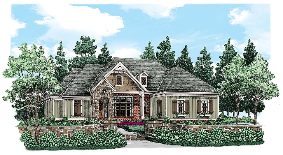 Craftsman , European , Traditional , Elevation of Plan 83028