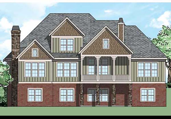 Craftsman , European , Traditional , Rear Elevation of Plan 83028
