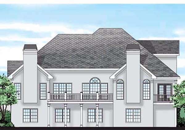 European Traditional House Plan 83029 Rear Elevation