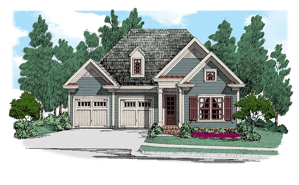 Cottage, Traditional House Plan 83030 with 2 Beds, 2 Baths, 2 Car Garage Elevation