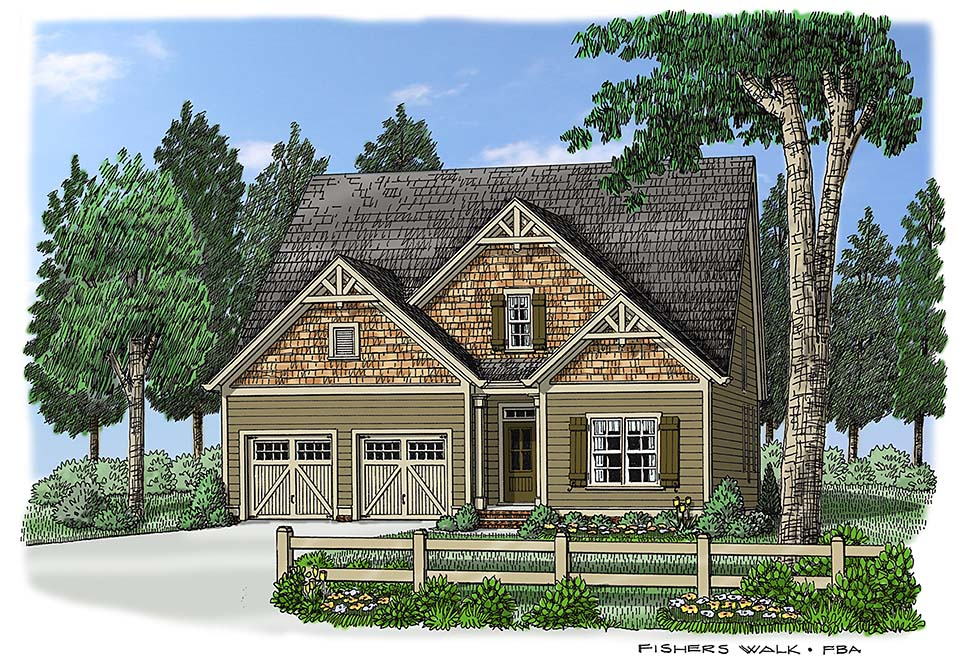 House Plan 83031 | Cottage Country Traditional Style Plan with 2458 Sq Ft, 4 Bedrooms, 3 Bathrooms, 2 Car Garage Elevation