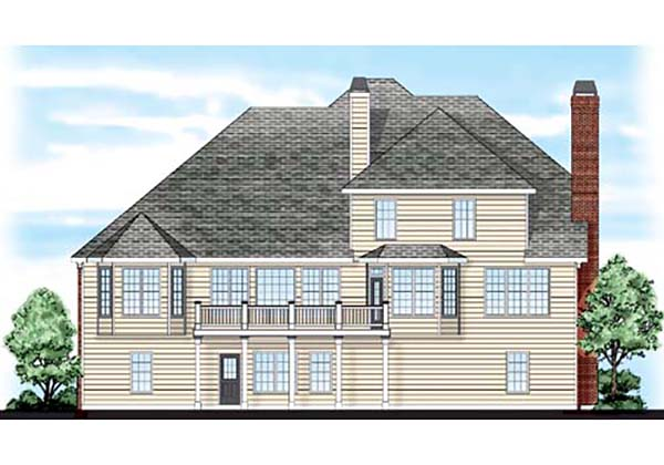 European , Traditional House Plan 83036 with 4 Beds, 4 Baths, 3 Car Garage Rear Elevation