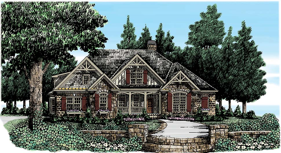 Traditional , Craftsman House Plan 83037 with 5 Beds, 4 Baths, 3 Car Garage Elevation