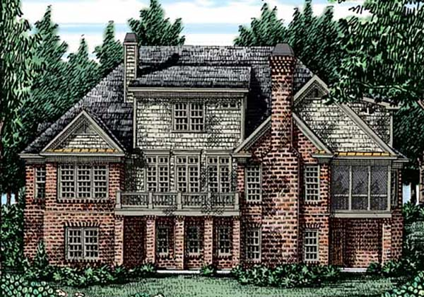 Traditional , Craftsman House Plan 83037 with 5 Beds, 4 Baths, 3 Car Garage Rear Elevation