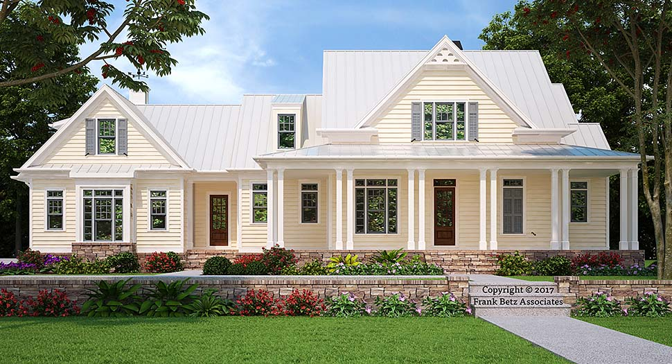 Country , Farmhouse , Southern , Elevation of Plan 83038